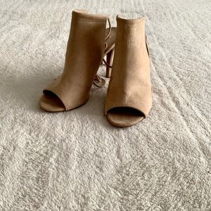 F21 Tan lace/strap booties